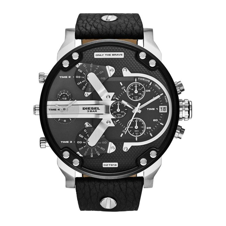 Diesel Mr Daddy Only The Brave Chronograph Black Leather Strap Watch -