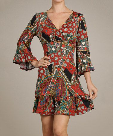 Another great find on #zulily! Red & Black Paisley Collage Surplice Dress by Vision #zulilyfinds