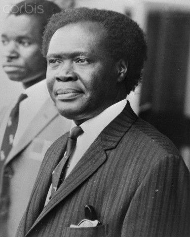 Dr. Milton Obote (right) President of Uganda with his Principal Private Secretary Henry Kyemba (left) in January 1971.