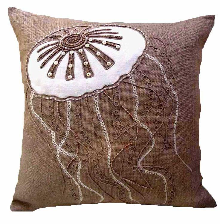 ~ Burlap Jellyfish Pillow from Seaside Beach