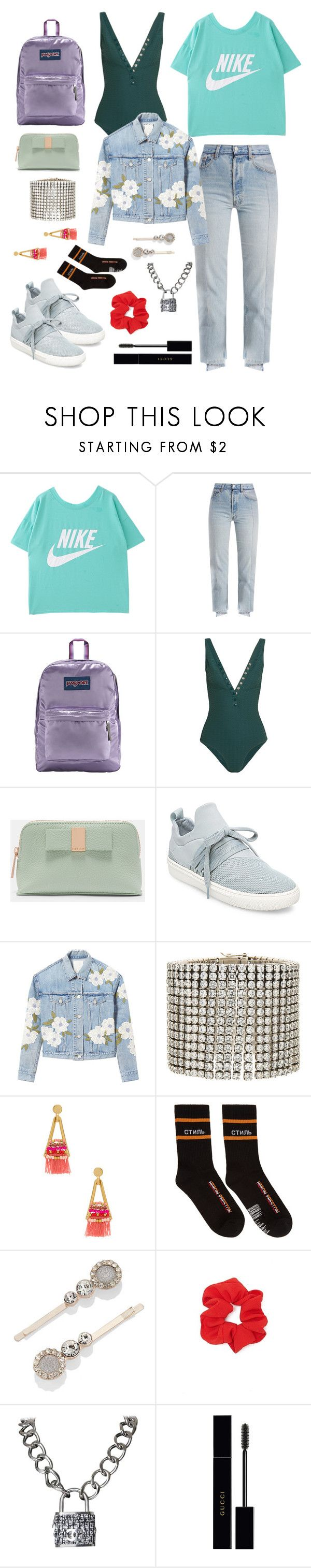 """Untitled #1219"" by lexi-riney ❤ liked on Polyvore featuring Vetements, JanSport, Eres, Ted Baker, Steve Madden, Rebecca Taylor, Marc Jacobs, Rebecca Minkoff, Heron Preston and New York & Company"