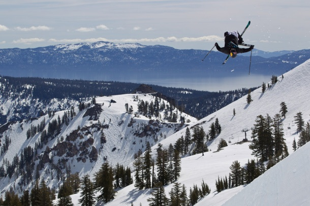 Syck Bad Ass Aerial Skier in front of Lake Tahoe, California @ Squaw Valley USA