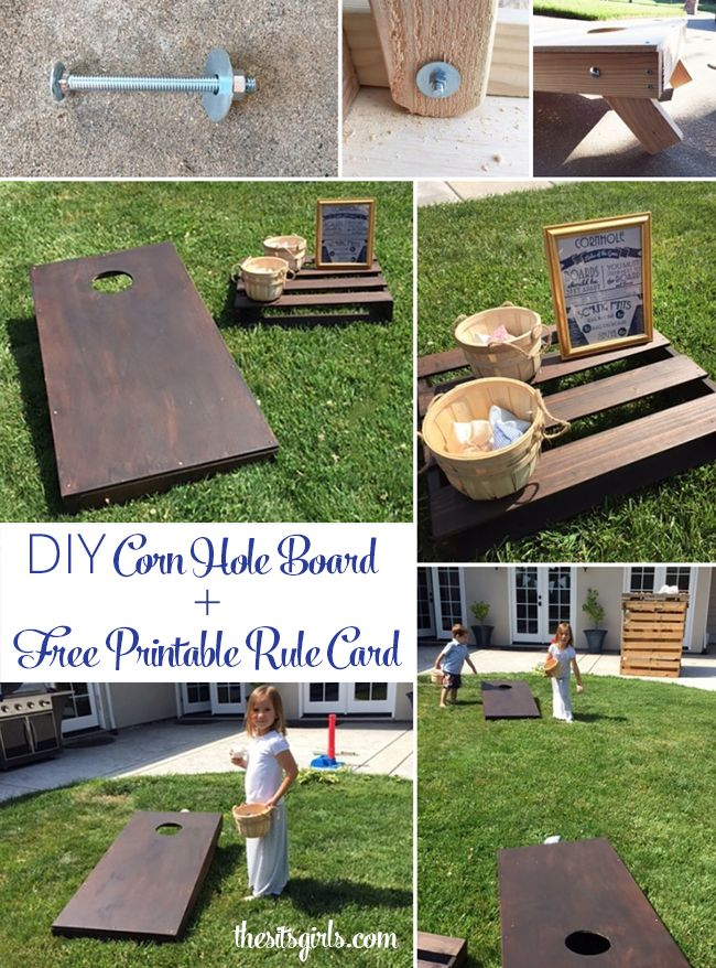DIY Corn Hole Board | Learn how to make your own bean bag toss boards to play Corn Hole. This is a fun game for kids and adults, and it is a great activity for a bbq or summer party. | Includes measurements for regulation size corn hole and a free printable download with cornhole rules.