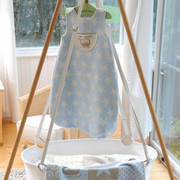 Babyschlafsack Hubschrauber und Sterne hellblau / bis 1 Jahr - David Fussenegger #blanket #spread #quilt #cotton #baby #bedroll