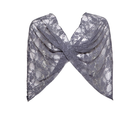 Dark grey lace shawl 4 options top in dark grey shrug by noavider, $35.00