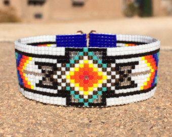 Raccolta danza perlina Loom polsino bracciale nativi americani stile Beaded gioielli Boho tribale turchese Beadweaving del sud-ovest