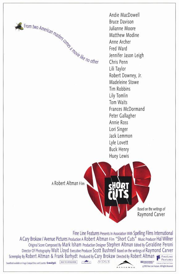 Short Cuts , starring Andie MacDowell, Julianne Moore, Tim Robbins, Bruce Davison. The day-to-day lives of a number of suburban Los Angeles residents. #Comedy #Drama