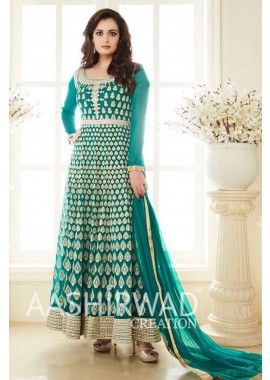 mer couleur verte georgette, costume Anarkali net, - 128,00 €, #LaModeIndienne #RobesIndienne #ModeBollywood #Shopkund