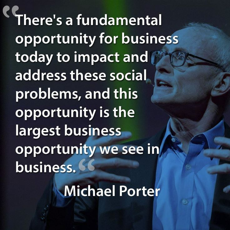 Michael Porter quote about businesses can solve social problems