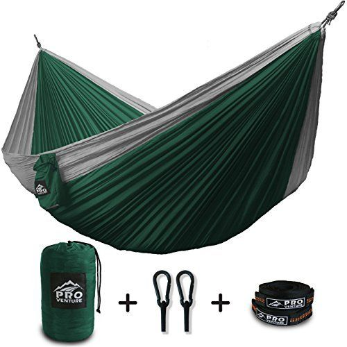 ProVenture Double Camping Hammock & FREE 9ft straps  Lightweight & Compact  For Backpacking The Beach Back Yard Travel Or Any Adventure! ProVenture Double Camping Hammock straps is rated as one of the best selling products online in Sports category in USA. Click below to see its Availability and Price in YOUR country.