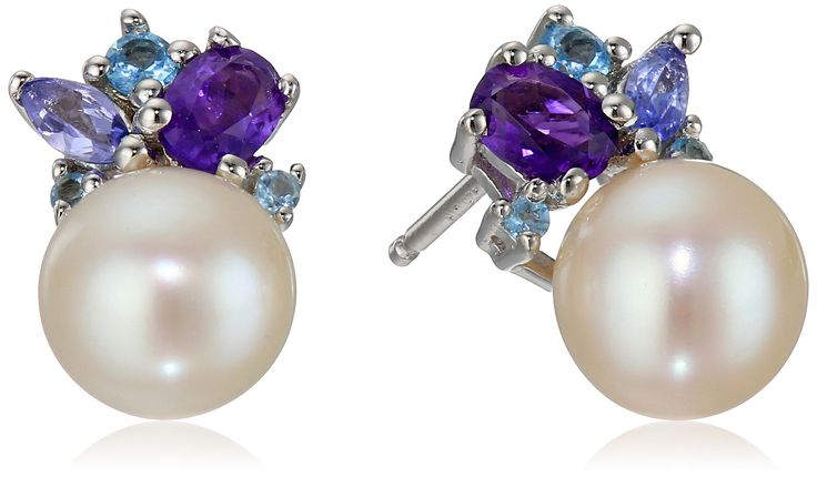 Sterling Silver Pearl, Amethyst, Tanzanite and Swiss Blue Topaz Earrings. Imported.