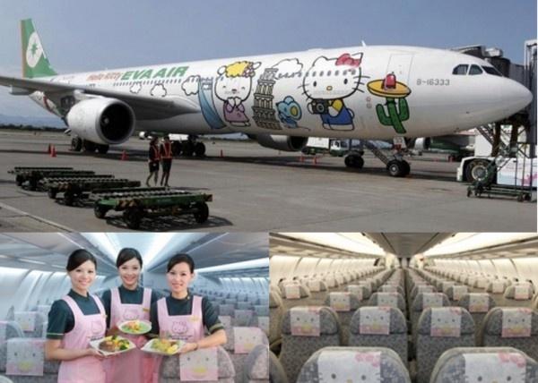 The Taiwanese Airline EVA introduced Hello Kitty planes (Taipei, Tokyo, Fukuoka, Hokkaido, Shanghai, Guam, Seoul and Hong Kong)