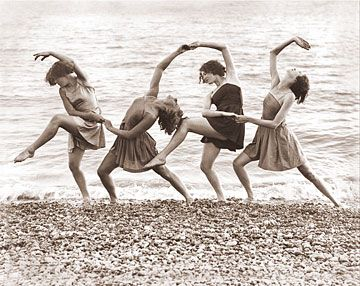 Four woman dancing at the water's edge. circa 1940 Picture #: 543H Copyright 2003 - Photographs Of Old America