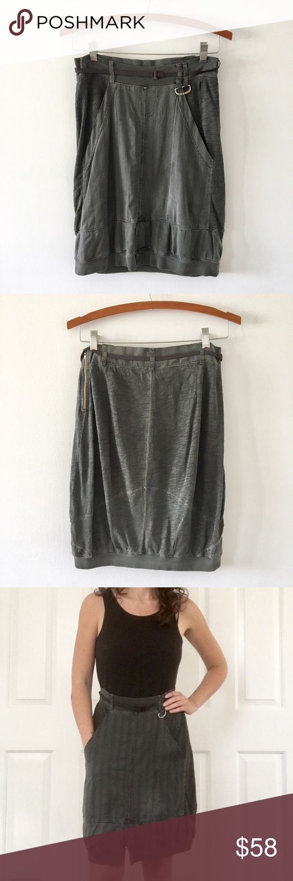 Diesel distressed skirt Extremely comfortable grey diesel distressed skirt. Pre loved - stain on front in photo and bottom snap came out of fabric but this is hidden when on. Size 26 with stretch waist so good for a small or medium. Diesel Skirts Midi