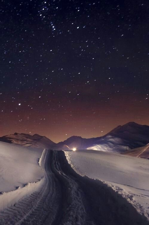 Magical how the stars shine and the first snow glistens causing the world to be hushed and clean for a while