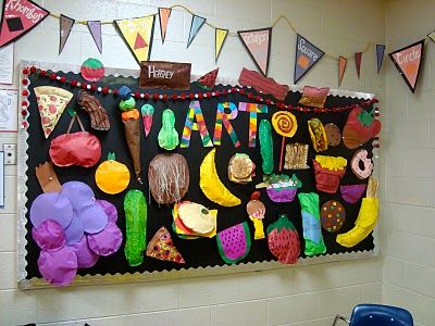 Paper Food Sculptures. But I'm also inspired by the bunting... each student could help make it... elements/principles, artists, genres, etc! Much cuter than posters and more eye-catching plus creates a sense of ownership. Oooh!!!