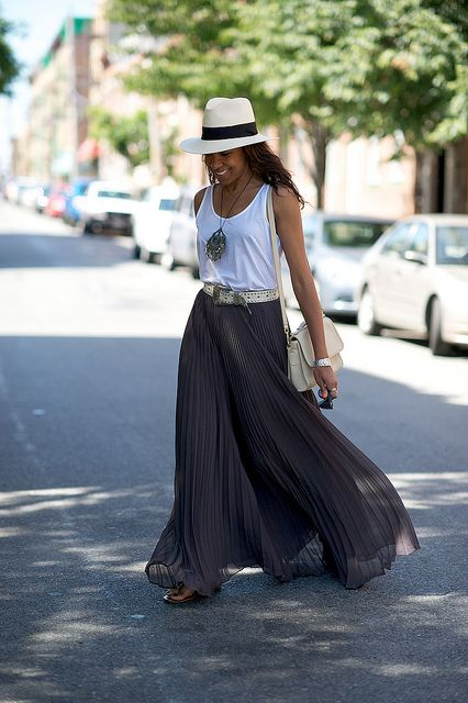 Skirt: Alice & Olivia (try one of these).  Tank top: Topshop (similar).  Belt: Vintage.  Necklace: Vintage.  Bag: Vintage Coach (I like this one). Panama Hat: Mens hat shop in New Orleans (similar). Sandals: Steve Madden.