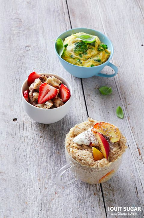 Sarah's Go-To Breakfast Muggins. French Toast in a mug featured in our new 'I Quit Sugar Healthy Breakfast Cookbook'.