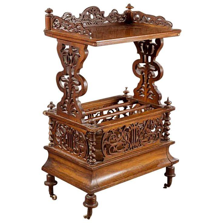 English Canterbury Or Magazine Stand In Burled Walnut, Mid 19th Century.  Victorian FurnitureVictorian InteriorsAntique ...