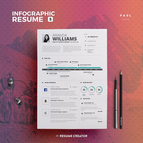 #Infographic #Resume #CV Vol. 5  2 Pages #Word and #Indesign #Template by #TheResumeCreator @resumecreator