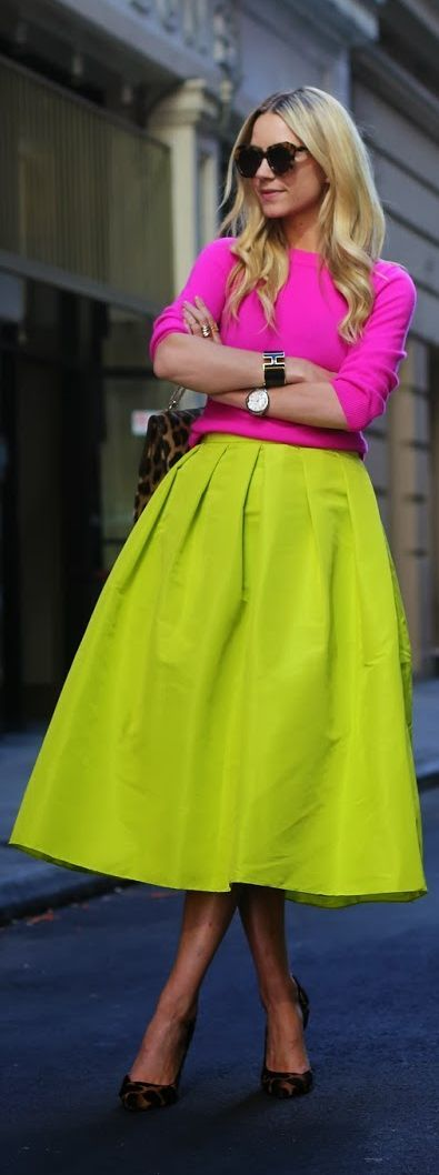 Color blocking - pink x neon