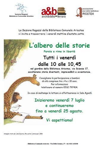Allombra dellAlbero delle Storie otto appuntamenti estivi con le letture per bambini