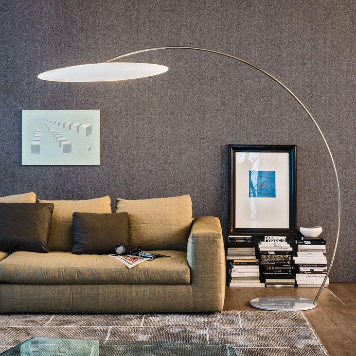 Astra Arc lamp by CATTELAN ITALIA  Floor lamp with white polyethylene lampshade. Base and steam in chromed (08) steel. Bulb not included.  http://www.format-store.com/en/prod/lighting/floor/astra-arc-lamp-by-cattelan-italia.html