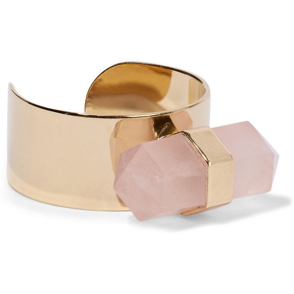 Isabel Marant Santa gold-tone quartz ring ($120) ❤ liked on Polyvore featuring jewelry, rings, gold tone jewelry, band rings, quartz jewelry, quartz ring and band jewelry