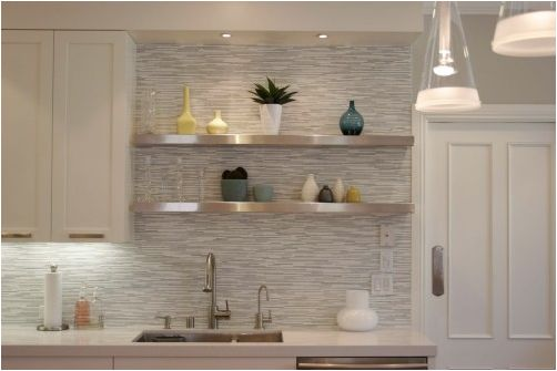 floating shelves - kitchen  tile. stainless.