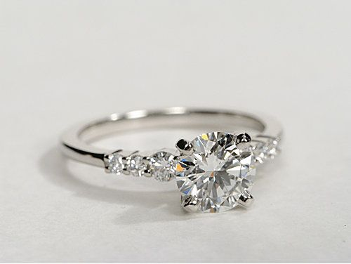 Petite Diamond Engagement Ring in Platinum (1/4 ct. tw.)  Would love a ring like that one:)