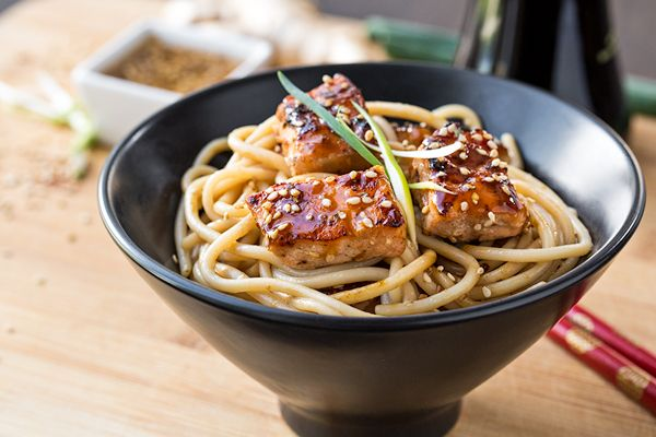 Sweet and savory teriyaki salmon grilled to perfection, with brown rice noodles tossed in a sesame-ginger sauce.