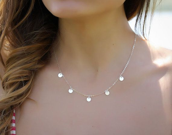 Silver disc necklace silver necklace bridesmaid by OlizzJewelry, $29.90