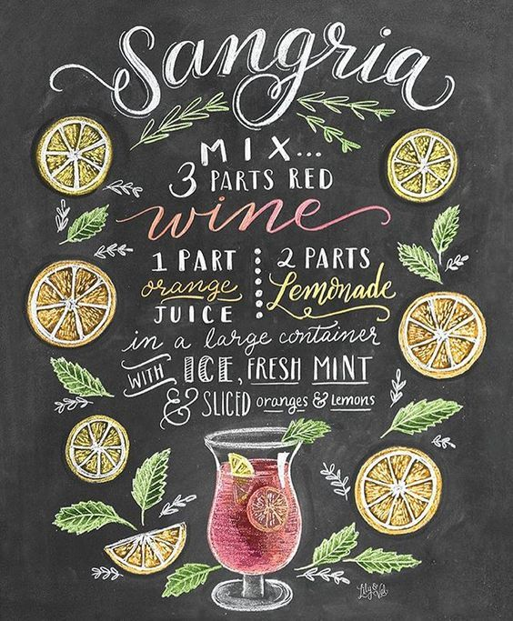 Although Sangria is not really my favourite, I love this chalkboard recipe by the amazing