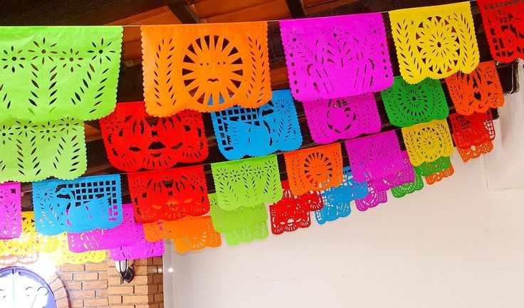 Add bright color to your next Mexican fiesta with our colorful papel picado banners! Perfect for Cinco de Mayo, Mexican theme parties, weddings, and birthday parties. You will receive over 60 feet of
