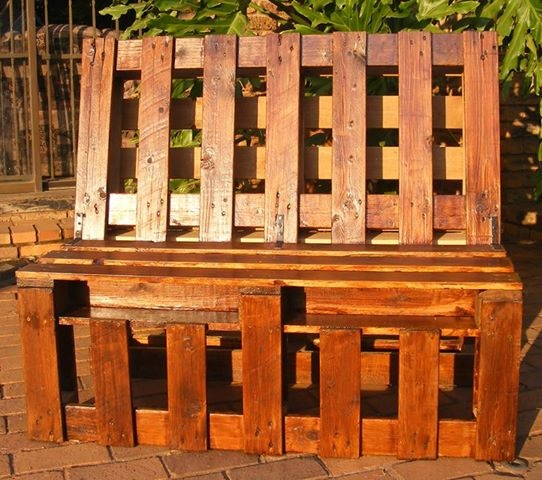 Hand made outdoor bench made from pallets