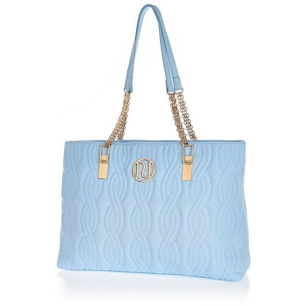 River Island Light blue quilted chain strap tote bag ($39) ❤ liked on Polyvore featuring bags, handbags, tote bags, blue, purses, tote handbags, quilted hand bags, blue tote, quilted tote bags and light blue purse