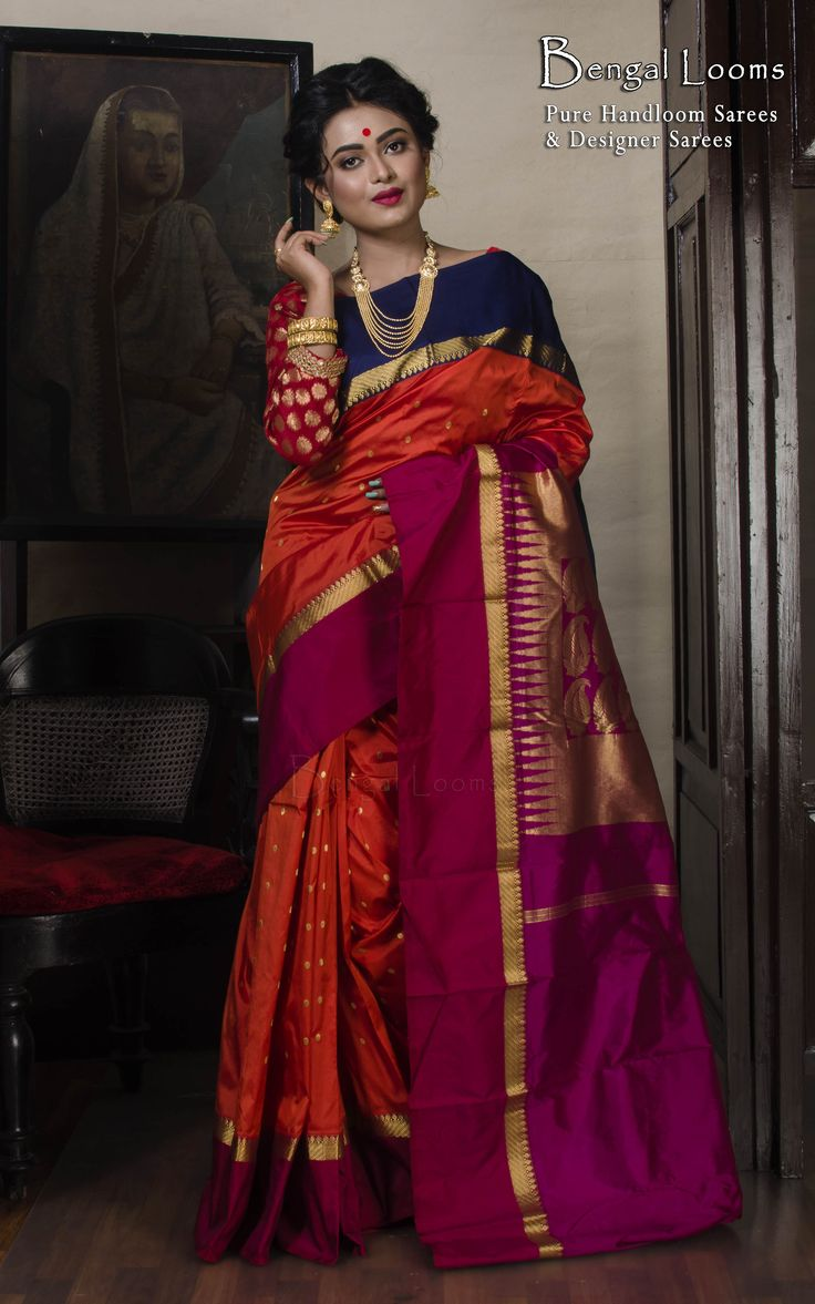 Orange Color Pure Silk Kanchipuram Saree With Ganga Jamuna Border