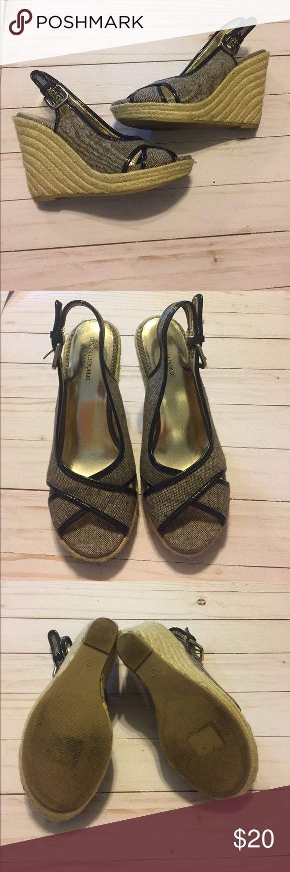 """EUC Banana Republic Wedge Heels 4 1/2"""" Wedge; great condition black outline with cream and brown color Banana Republic Shoes Wedges"""