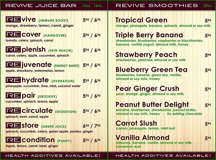 Image gallery smoothie menus for Whole food juice bar menu
