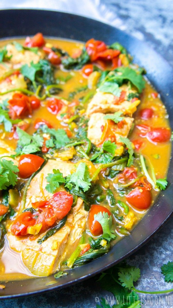 Indiase viscurry met zalm en spinazie - Little Spoon