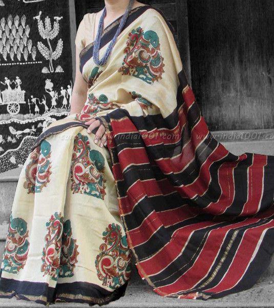Elegant Chanderi Saree with Block Printing 4