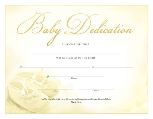 Printable Baby Dedication Certificate