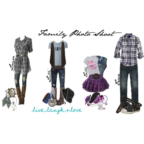 """Family Photo Shoot outfits.  I love the fedora idea for Lilli's outfit.  She's very laid back & likes a more rocker look.  We actually designed the """"Cash"""" T-shirt b/c she wanted a Johnny Cash tee."""