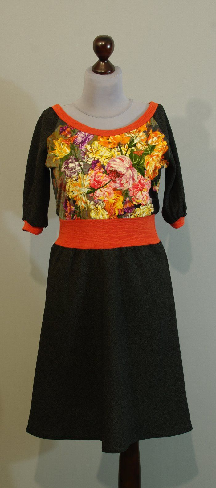Темно-серое платье с оранжевыми вставками, Украина сайт Платье-терапия (152)