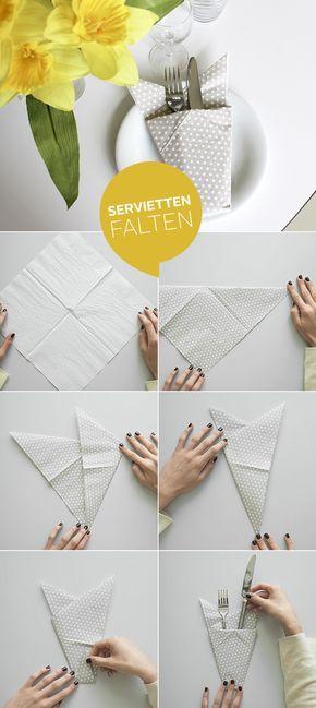 Servietten einfach nur neben den Teller legen? Viel zu langweilig! Hier findest du 14 tolle Anregungen, wie du einfach und wirkungsvoll kreative Servietten für jeden Anlass zauberst.
