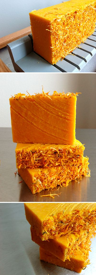 Handmade Carrot and Calendula Bastille Soap left unscented and uncolored.  The orange is from the carrot puree :D