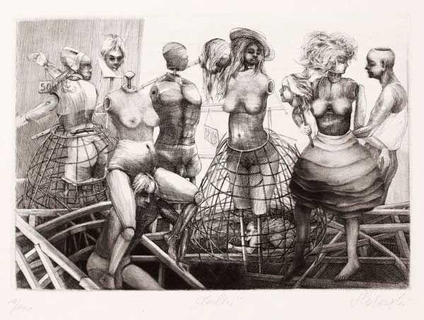 Krzysztof W. Skórczewski, Lalki, 1986, miedzioryt, mezzotinta  /Rysunek i grafika - Muzeum Śląskie