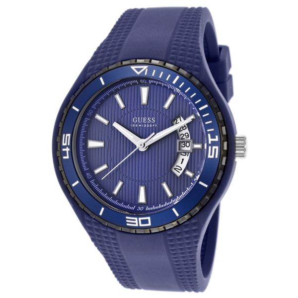 Men's Blue Dial Blue Silicone - Guess Watch