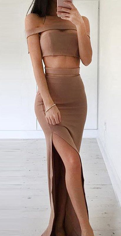 Simple Brown Two Piece Sheath Prom Dress - Off the Shoulder Split Floor Length