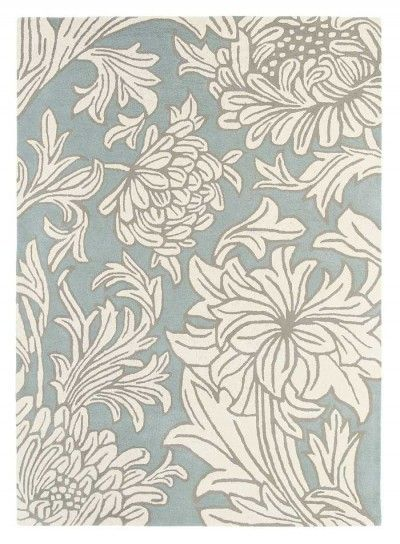 Chrysanthemum China Blue Rug (221705) - Morris Rugs - An elegant hand tufted, 100% wool rug featuring the timeless Chrysanthemum design from William Morris. Shown here in the china blue colourway. Other colourways are available. Total rug size is 140cm W x 200cm L.